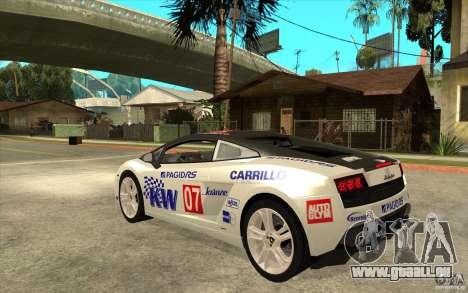 Lamborghini Gallardo LP560 für GTA San Andreas zurück linke Ansicht