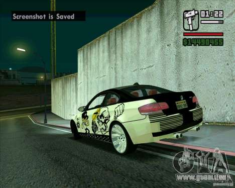 BMW M3 (E92) 2007 pour GTA San Andreas laissé vue
