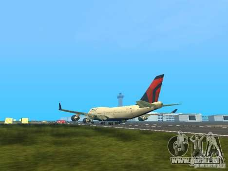 Boeing 747-400 Delta Airlines für GTA San Andreas zurück linke Ansicht