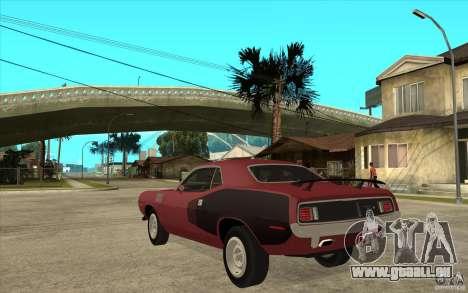 Plymouth Cuda 426 pour GTA San Andreas sur la vue arrière gauche