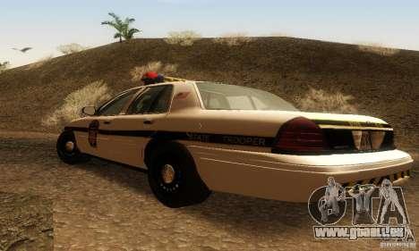 Ford Crown Victoria Pennsylvania Police pour GTA San Andreas laissé vue
