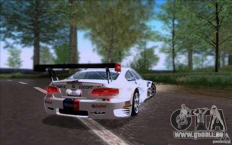 BMW E92 M3 pour GTA San Andreas sur la vue arrière gauche