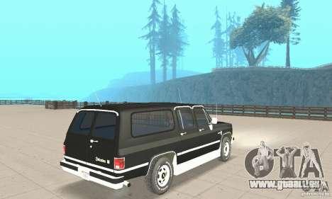 Chevrolet Suburban FBI 1986 pour GTA San Andreas laissé vue
