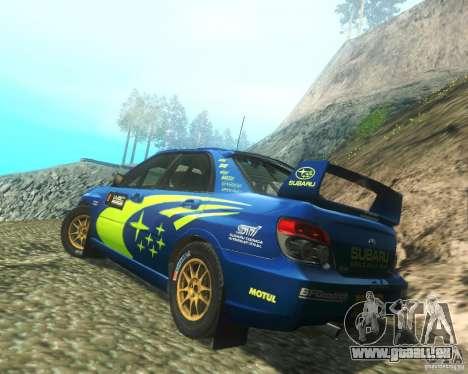 Subaru Impreza WRX STI DIRT 2 pour GTA San Andreas sur la vue arrière gauche
