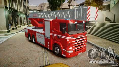 Scania Fire Ladder v1.1 Emerglights blue [ELS] für GTA 4 rechte Ansicht