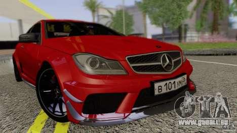 Mercedes Benz C63 AMG Black Series 2012 pour GTA San Andreas vue de droite