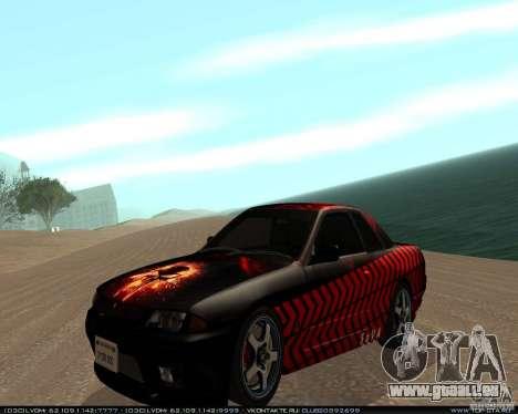 Nissan Skyline R32 GT-R + 3 vinyl für GTA San Andreas