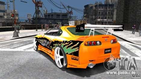 Toyota Supra Fast And Furious pour GTA 4 Vue arrière de la gauche