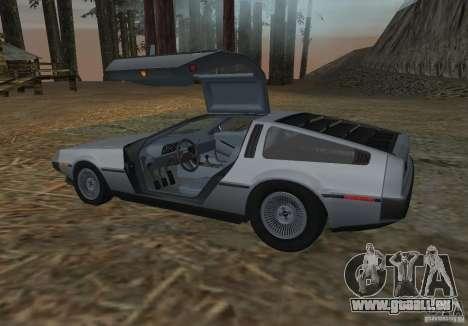 DeLorean DMC-12 pour GTA San Andreas sur la vue arrière gauche