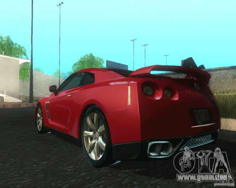 Nissan GTR R35 Spec-V 2010 Stock Wheels für GTA San Andreas zurück linke Ansicht