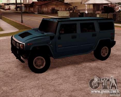 Hummer H2 SUV pour GTA San Andreas laissé vue