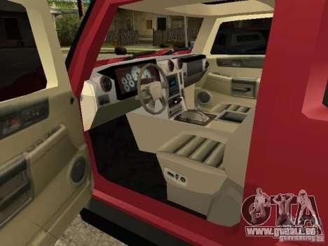 Hummer H2 Tuning pour GTA San Andreas vue de droite