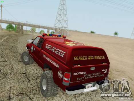 Dodge Ram 3500 Search & Rescue pour GTA San Andreas roue