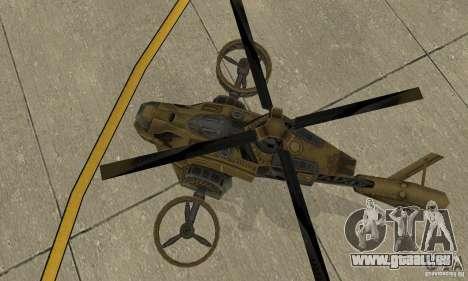 Un hélicoptère de la jeu Brown de TimeShift pour GTA San Andreas vue arrière