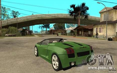 Lamborghini Gallardo Spyder pour GTA San Andreas sur la vue arrière gauche