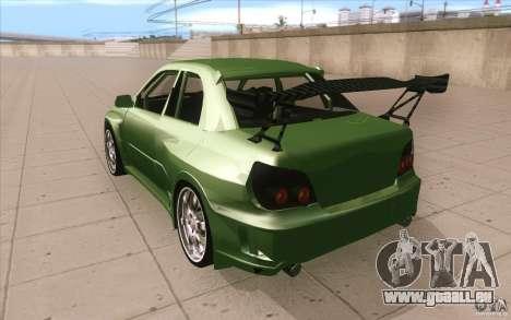 Subaru Impreza STI pour GTA San Andreas sur la vue arrière gauche