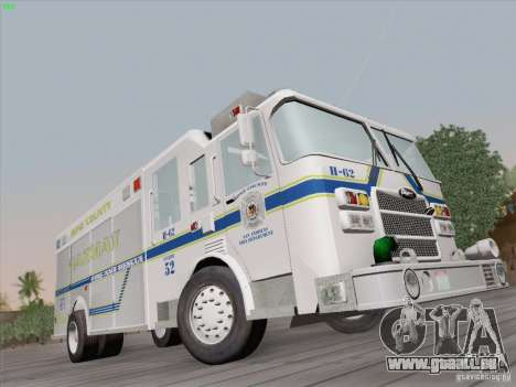 Pierce Fire Rescues. Bone County Hazmat für GTA San Andreas rechten Ansicht