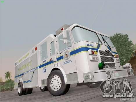Pierce Fire Rescues. Bone County Hazmat für GTA San Andreas rechten Ansicht