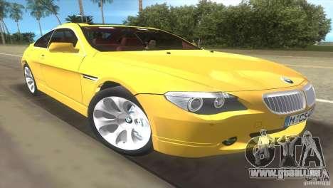 BMW 645Ci pour GTA Vice City vue arrière