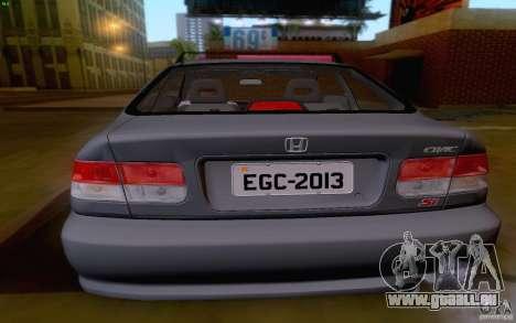 Honda Civic 1999 für GTA San Andreas Rückansicht