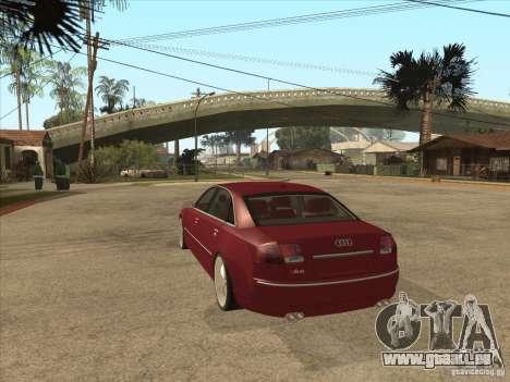 Audi A8 Switze für GTA San Andreas zurück linke Ansicht