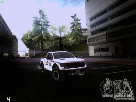 Ford Raptor Royal Canadian Mountain Police pour GTA San Andreas sur la vue arrière gauche