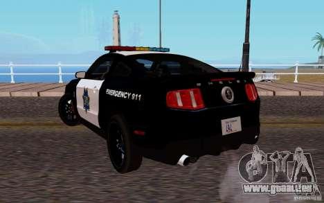 Ford Shelby Mustang GT500 Civilians Cop Cars pour GTA San Andreas sur la vue arrière gauche