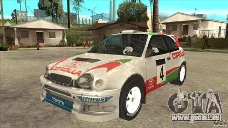 Toyota Corolla 1999 Rally Champion für GTA San Andreas zurück linke Ansicht