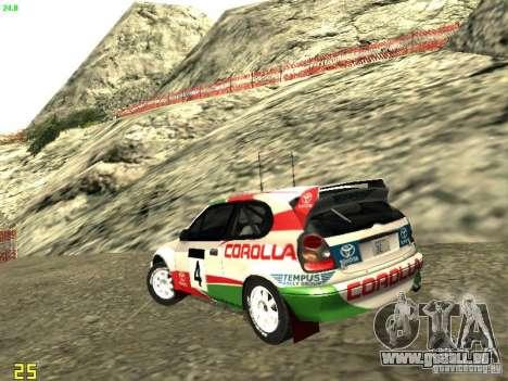 Toyota Corolla 1999 Rally Champion für GTA San Andreas linke Ansicht