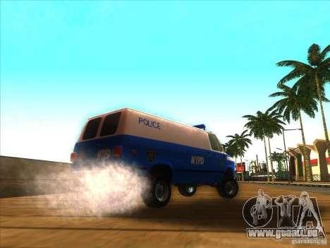 Chevrolet Van G20 BLUE NYPD 1990 für GTA San Andreas zurück linke Ansicht