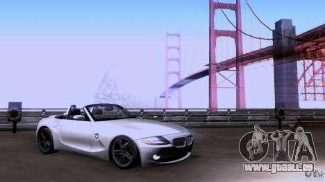 BMW Z4 V10 pour GTA San Andreas sur la vue arrière gauche