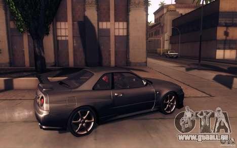 Nissan Skyline GTR R34 VSpecII pour GTA San Andreas laissé vue