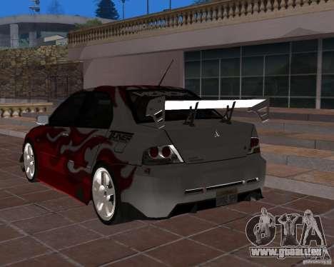 Mitsubishi Lancer Evolution VIII pour GTA San Andreas vue intérieure