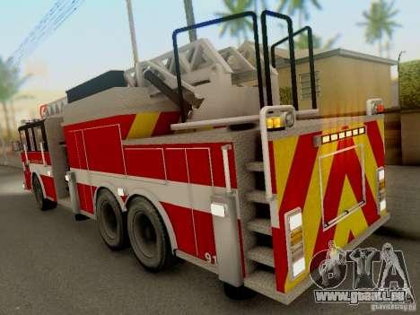 Pierce Firetruck Ladder SA Fire Department pour GTA San Andreas vue de droite