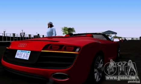 Audi R8 Spyder pour GTA San Andreas sur la vue arrière gauche