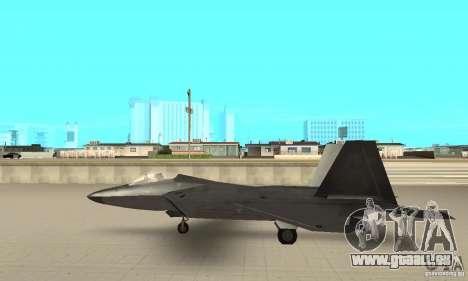 F-22 Black pour GTA San Andreas sur la vue arrière gauche