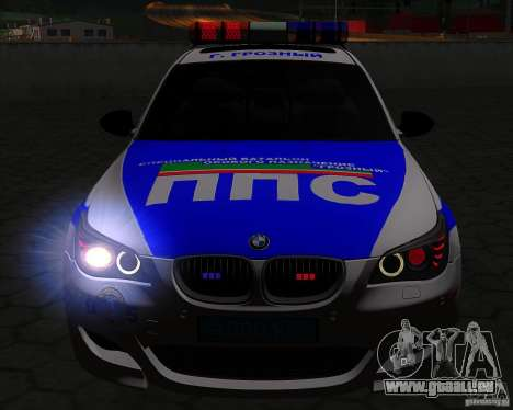 BMW M5 E60 Police pour GTA San Andreas vue de dessus