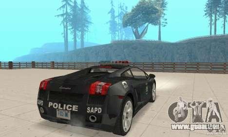 Lamborghini Gallardo Police pour GTA San Andreas laissé vue