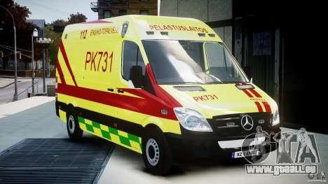 Mercedes-Benz Sprinter PK731 Ambulance [ELS] für GTA 4 Rückansicht