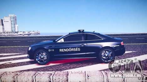 Audi S5 Hungarian Police Car black body pour GTA 4 est un côté