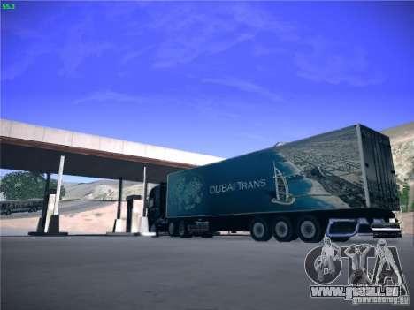 Remorque pour Scania R620 Dubaï Trans pour GTA San Andreas sur la vue arrière gauche