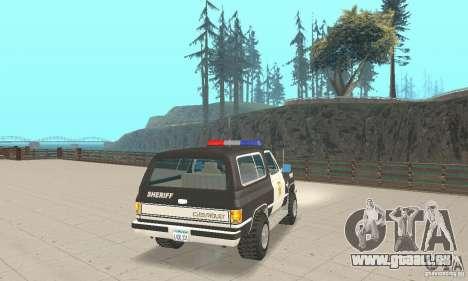 Chevrolet Blazer Sheriff Edition pour GTA San Andreas sur la vue arrière gauche