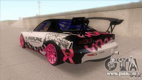 Mazda RX-7 FD K.Terej pour GTA San Andreas sur la vue arrière gauche