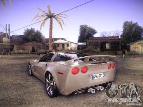 Chevrolet Corvette C6 Z06 Tuning pour GTA San Andreas sur la vue arrière gauche