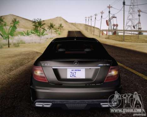Mercedes-Benz C63 AMG Black Series pour GTA San Andreas vue arrière