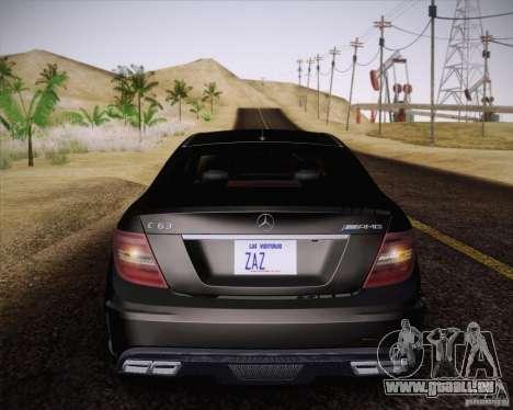 Mercedes-Benz C63 AMG Black Series für GTA San Andreas Rückansicht