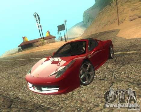 Ferrari 458 Italia Convertible pour GTA San Andreas vue de côté