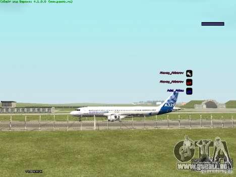 Airbus A320-300 pour GTA San Andreas sur la vue arrière gauche