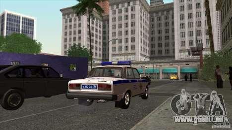 VAZ 2107 PPP Arzamas pour GTA San Andreas sur la vue arrière gauche