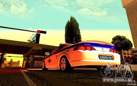 Acura RSX-S Polizei für GTA San Andreas rechten Ansicht